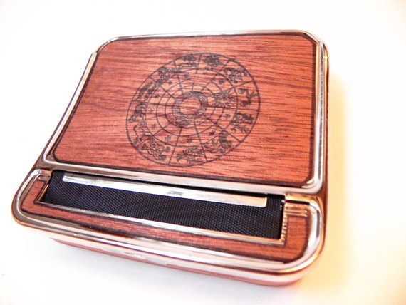 Zodiac Sign Cigarette Case & Rolling Machine : Real Wood Cigarette Roller, cigarette holder, gift, astrology, sun, birthday gift, birth date by ResoluteStar