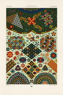 Japanese pattern from L'ornement Polychrome (1888) by Albert Racinet (1825–1893). Digitally enhanced from our own original 1888 edition.