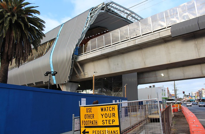 Carnegie skyrail station - operational but still under construction. Old subway filled in