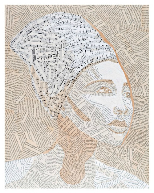 Torn paper collage - Rhapsody in Monochrome by Laura Shabazz