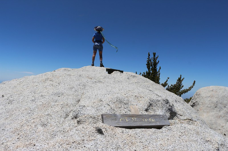 Vicki standing on the Mount Saint Ellen's summit, showing the wooden sign and peak register
