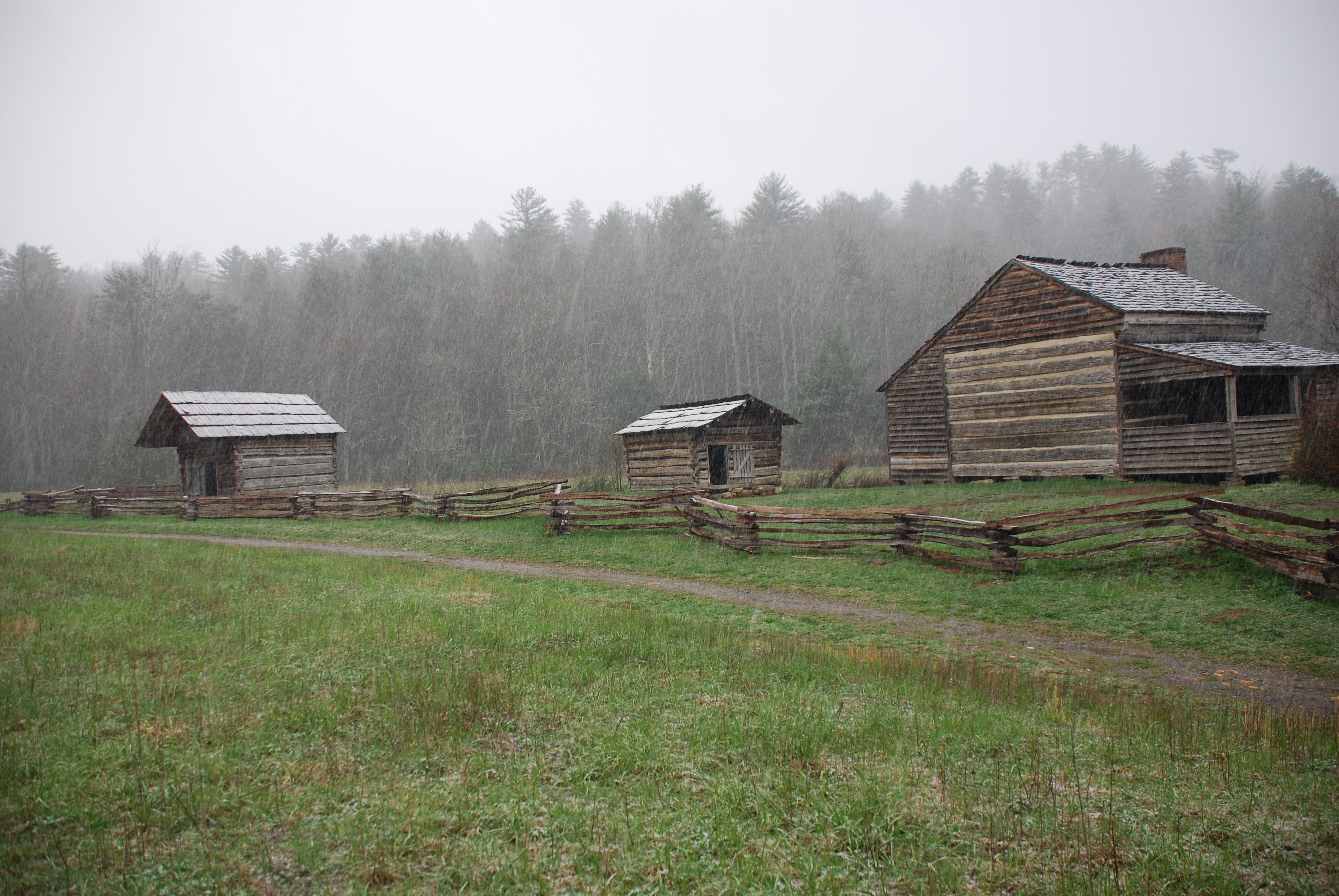 The Dan Lawson Place in Cades Cove, GSMNP, in East Tennessee. The cabin was built by Peter Cable, and inherited by Dan Lawson after he married Cable's daughter. Photo taken on April 6, 2009.