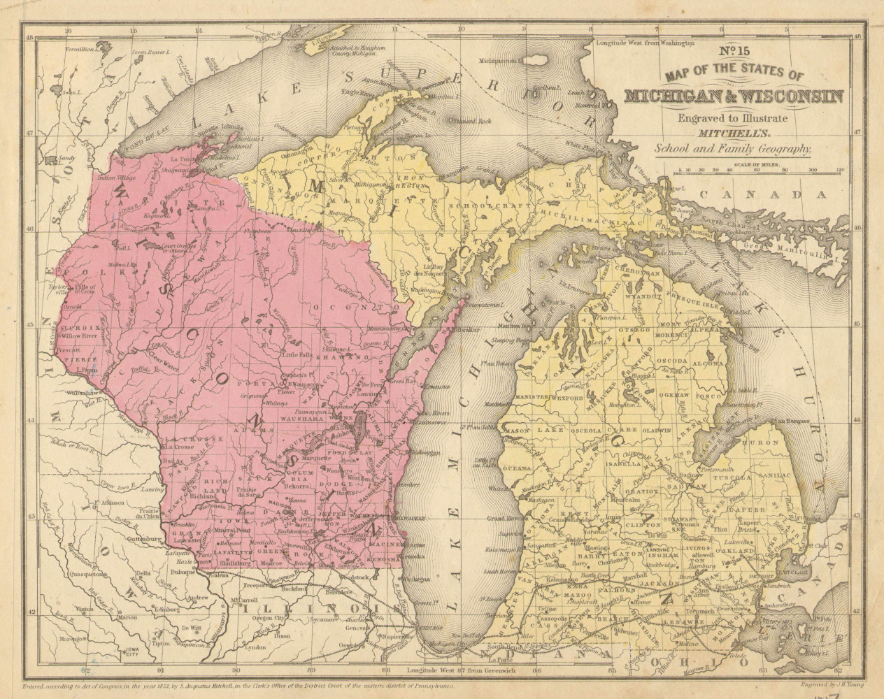 Map of the states of Wisconsin and Michigan, 1852.