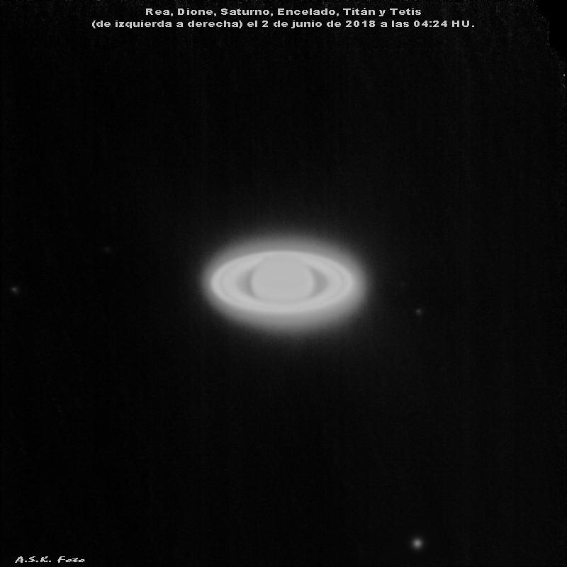 Saturno y 5 lunas 2018.