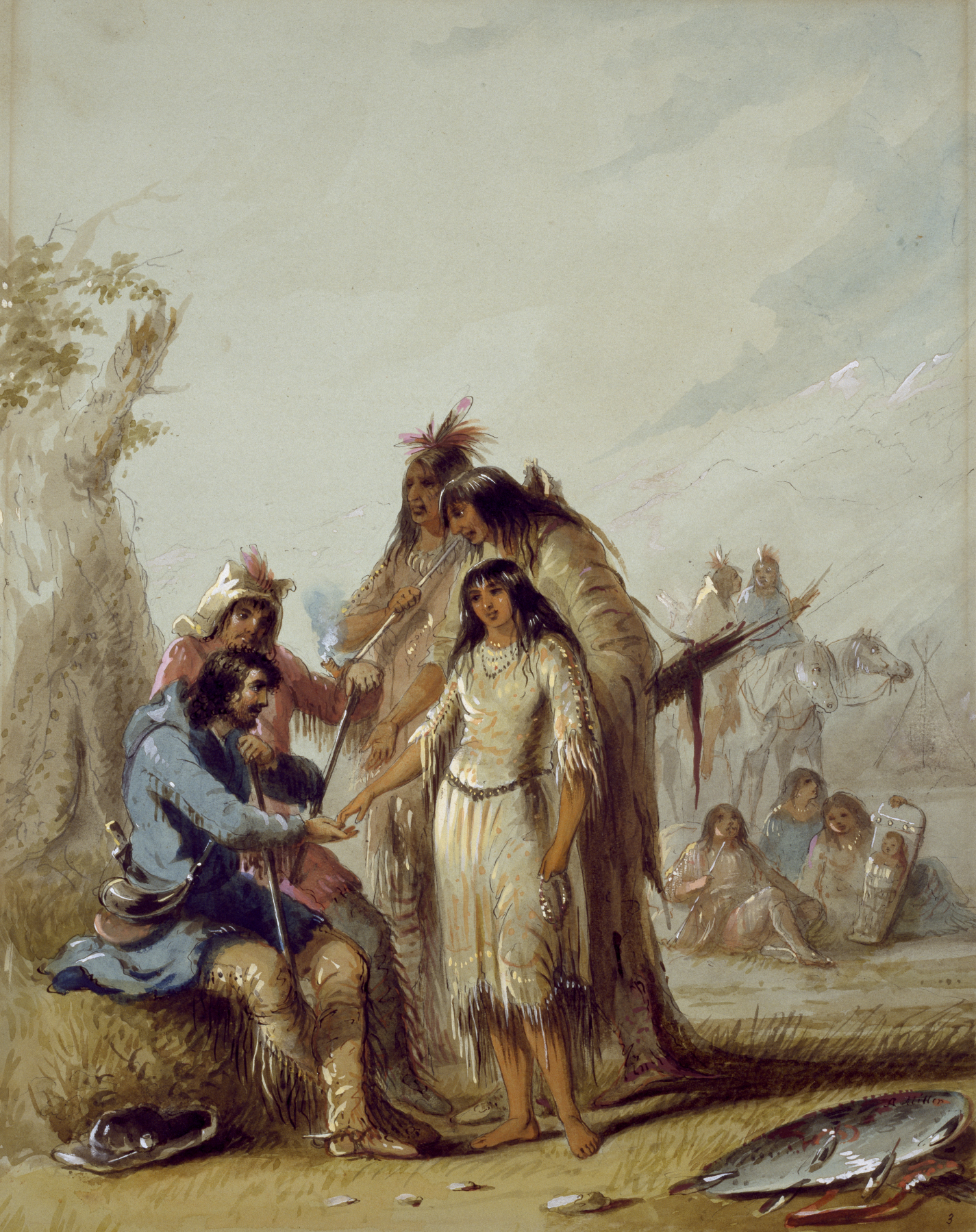 The Trapper's Bride shows a trapper, Francois, paying $600 in trade goods for an Indian woman to be his wife, circa 1837.