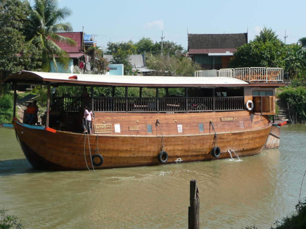 Modern krachaeng boat for tourists on the Chao Phraya near Ayutthaya, Thailand. Photo taken on December 22, 2007.