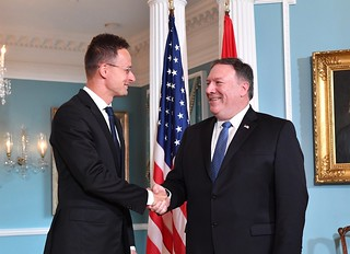 Secretary Pompeo Shakes Hands With Hungarian Foreign Minister Szijjarto