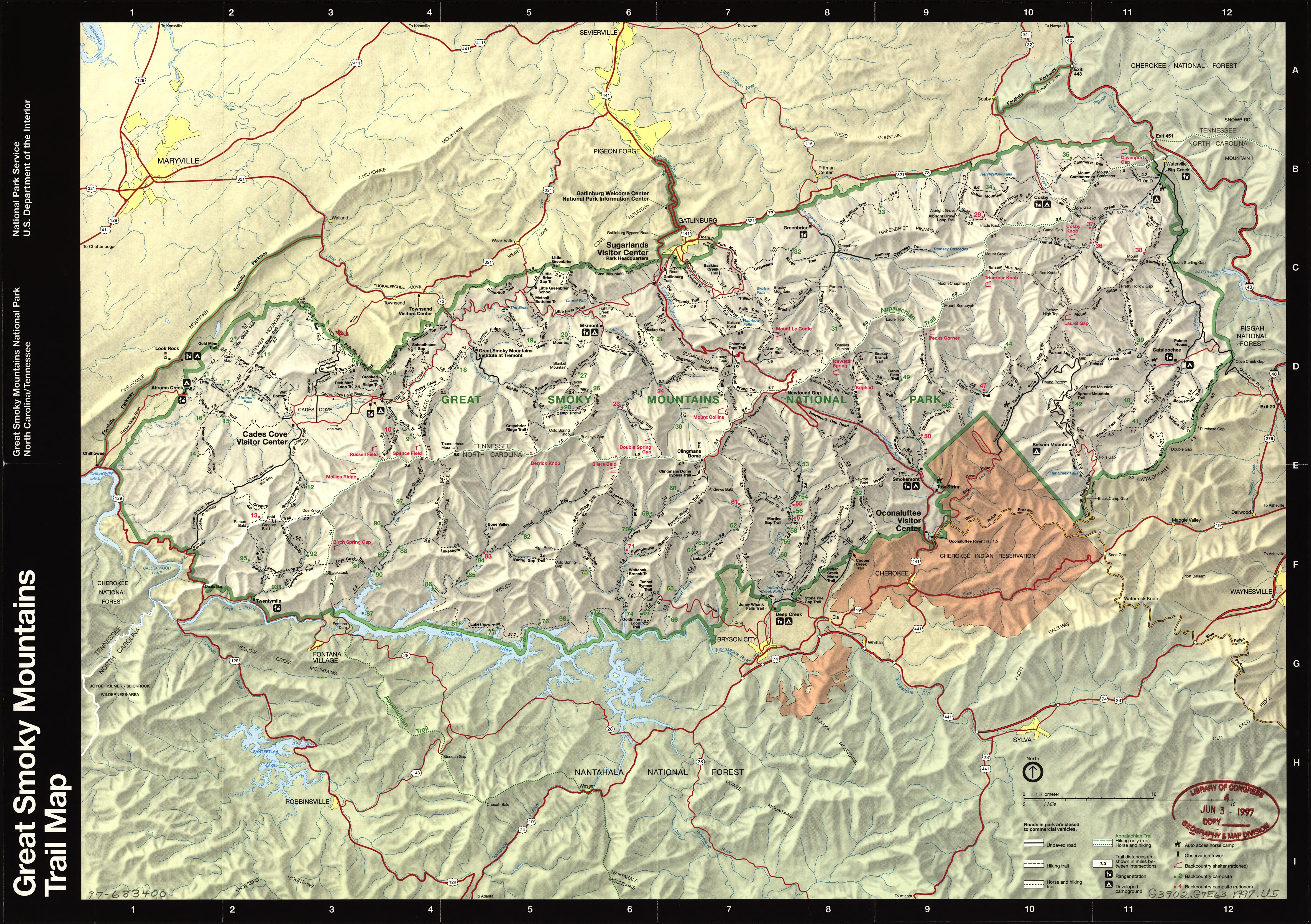 National Park Service trails map of Great Smokey Mountains National Park
