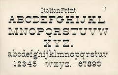 Italian print fonts from Draughtsman's Alphabets by Hermann Esser (1845–1908). Digitally enhanced from our own 5th edition of the publication.