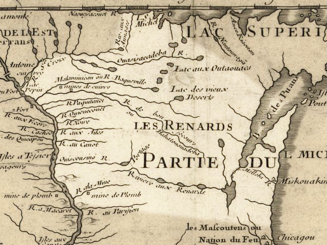 Wisconsin 1718, approximate modern state area highlighted, from Carte de la Louisiane et du cours du Mississipi by Guillaume de L'Isle.