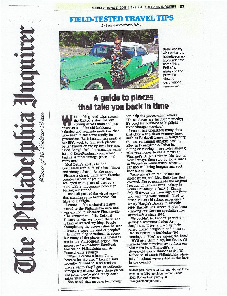 Retro Roadmap in the Sunday Philadelphia Inquirer! June 3 2018