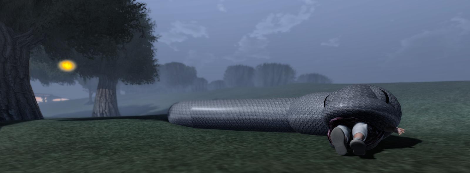 The anaconda eats Ricco