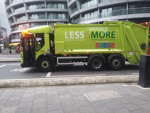 Promoting recycling on a sanitation/garbage truck, Islington borough, London