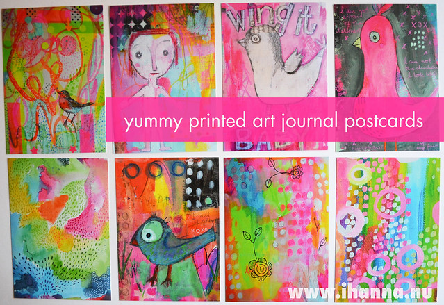 Yummy printed art journal postcards