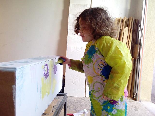 mise en peinture du coffre latéral