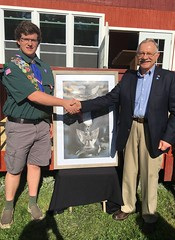 Rep. Simanski with Eagle Scout Kurtis Robert Bryant. Kurt's project involved replacing signs in front of 9 historic cemeteries in Granby.