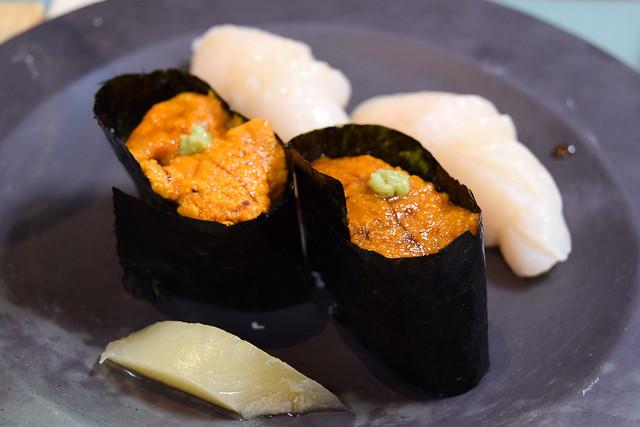 Scallop and Uni Sushi at Yashin Ocean House, Kensington #sushi #london #kensington
