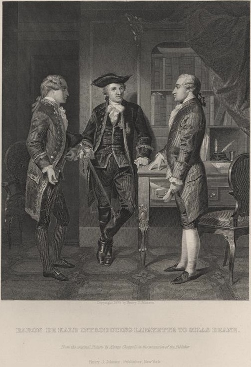 1879 Alonzo Chappel print of Lafayette (center) being introduced by Baron Johann de Kalb (left) to Silas Deane.