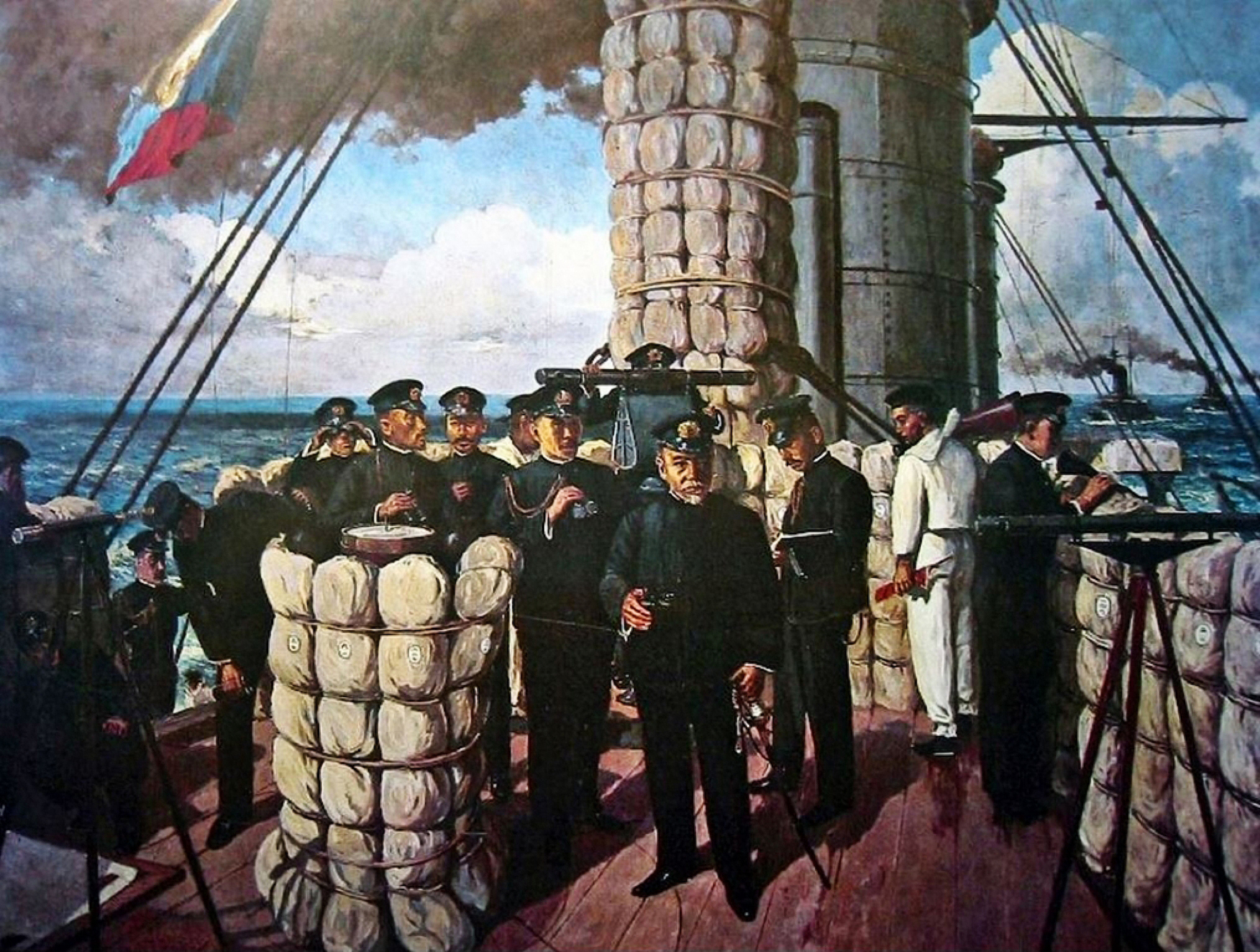 Admiral Tōgō Heihachirō on the bridge of Mikasa, at the beginning of the Battle of Tsushima in 1905. The signal flag being hoisted is the letter Z, which was a special instruction to the Fleet. Left to right: messenger Yamazaki Genki, navigator Second Lieutenant Edahara Yurikazu, staff Major Iida Hisatsune, chief navigator Lieutenant Colonel Nunome Mitsuzō, aide-de-camp of gunnery officer Lieutenant Imamura Nobujirō, captain of Mikasa Captain Ijichi Hikojirō, gunnery officer Major Abo Kiyokazu, 4th grade sailor Noguchi Shinzō, chief of staff Rear-Admiral Katō Tomosaburō, measurement officer Cadet Lieutenant Hasegawa Kiyoshi, Commander-in-chief of the Combined Fleet Tōgō Heihachirō, staff Lieutenant Colonel Akiyama Saneyuki, 1st grade sailor Miura Tadashi, cadet Tamaki Shinsuke 日本語: 東城鉦太郎『三笠艦橋之圖』 右から左へ:伝令・玉木信介少尉候補生、伝令・三浦忠一等信号兵、参謀・秋山真之中佐、連合艦隊司令長官・東郷平八郎大将、測的係・長谷川清少尉、参謀長・加藤友三郎少将、伝令・野口新蔵四等水兵、砲術長・安保清種少佐、艦長・伊地知彦次郎大佐、砲術長附・今村信次郎中尉、航海長・布目満造中佐、参謀・飯田久恒少佐、航海士・枝原百合一少尉、伝令・山崎厳亀少尉候補生