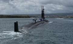 USS Columbia (SSN 771) transits Pearl Harbor while returning home, June 6. (U.S. Navy/MC2 Michael H. Lee)