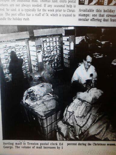 TRENTON: Former post office (1987)   Mail clerk Ed George so