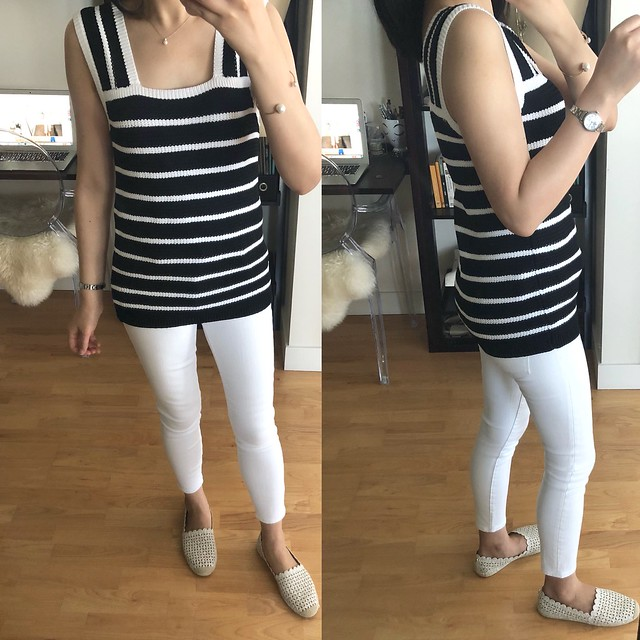 LOFT Striped Sweater Tank, size XXS regular
