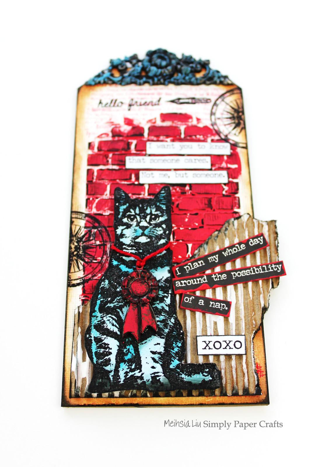 Meihsia Liu Simply Paper Crafts Mixed Media Tag Red White Blue Cat Simon Says Stamp Tim Holtz DarkRoom Door