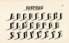 Egyptian style calligraphy fonts from Draughtsman's Alphabets by Hermann Esser (1845–1908). Digitally enhanced from our own 5th edition of the publication.