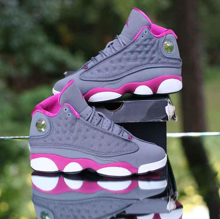 Nike Girl s Air Jordan 13 Retro GS Cool Grey Fusion Pink 4…  630de49bf