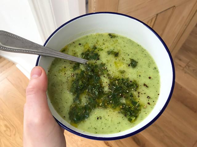 Easy Courgette Soup with Mint Citrus Oil #courgette #soup #mint