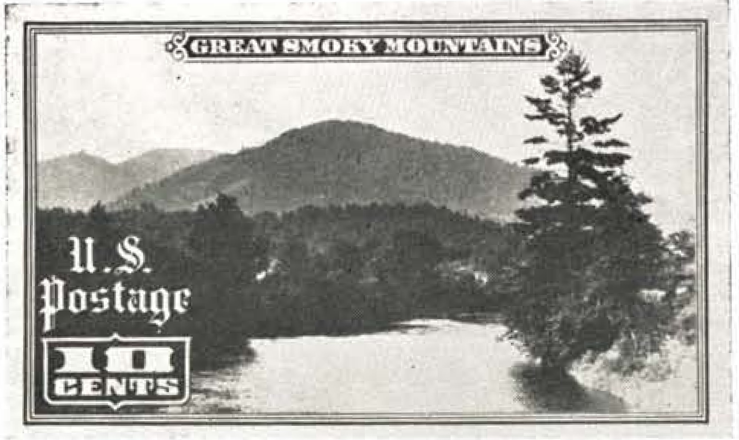 Original unused design for the 10-cent Great Smoky Mountains stamp by A. R. Meissner.