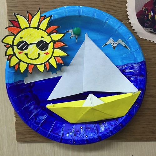 종이공작/ 태양, 요트, 바다 벽걸이 만들기