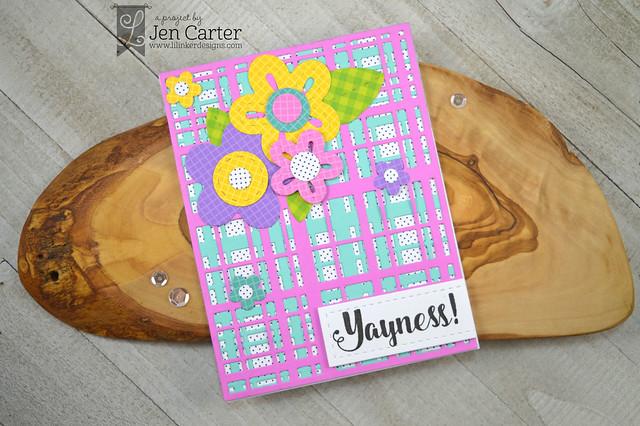 Jen Carter Perky Posies XL Perfectly Plaid Doodled Daisies wm