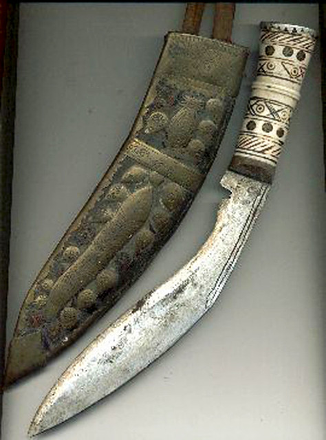 The instantly recolonised inwardly curved blade of the Kukri that is used by Gurkha Soldiers, and is basically used as a tool and utility knife of the Nepali people.