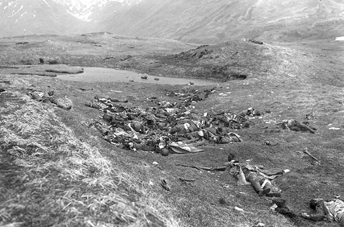 Dead Japanese military personnel lie where they fell on Attu Island after a final banzai charge against American forces on May 29, 1943 during the Battle of Attu, Alaska.
