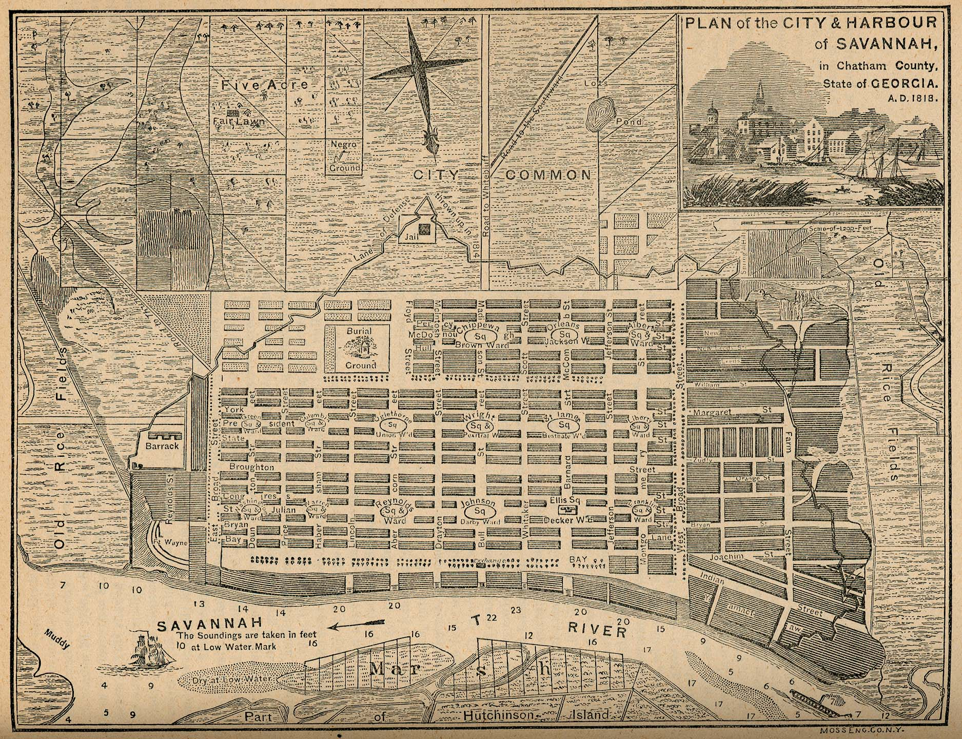 Savannah, Georgia, map of 1818 showing continuation of the ward design with minor modifications. Oglethorpe originally laid out six wards in Savannah. The design proved remarkably adaptable as the city grew, and city officials perpetuated the same basic model for more than a century. Ultimately, twenty-four wards were laid out in general accordance with the original design, filling most of the original square-mile town common. The City of Savannah has preserved the ward design within its National Historic Landmark District.