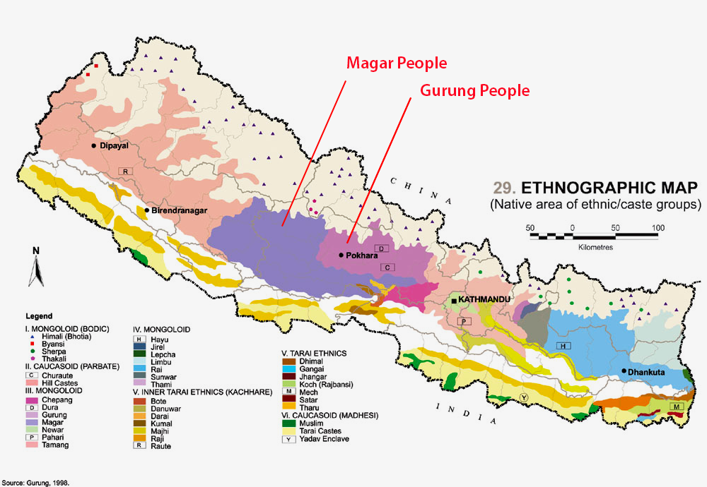 A detailed map of Nepali Ethnicities showing the predominance of Magar and Gurung peoples in Central West nepal, that make up most of the Gurkha Soldiers