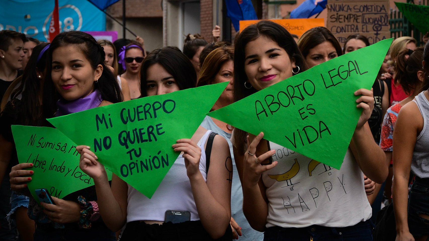 Pro-abortion activists in Argentina