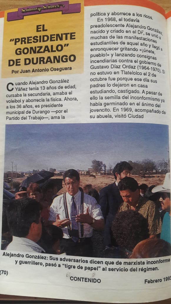 3.- Siendo presidente municipal de Durango, Alejandro González Yáñez o Gonzalo Yáñez, mandaba traer del D.F., cientos de cajas de botellas de agua Santa María porque no le gustaba t