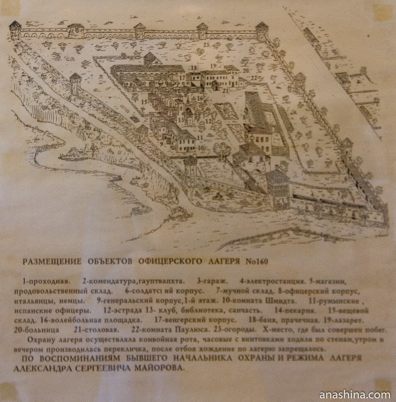 Схема размещения объектов офицерского лагеря №160, Спасо-Евфимиев монастырь, Суздаль