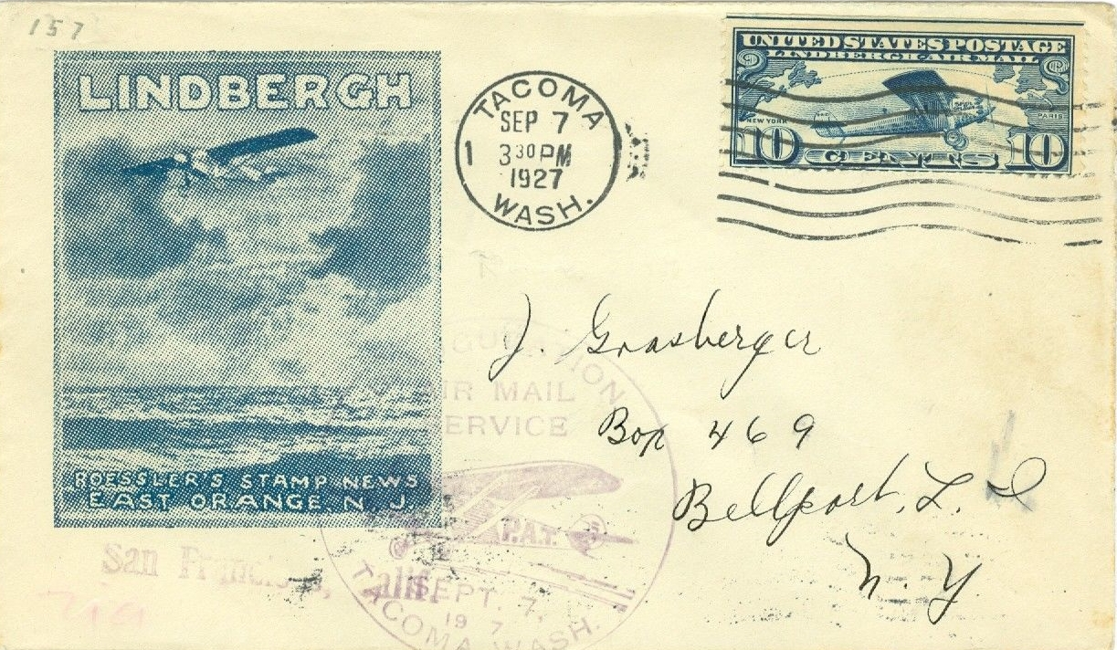 This cover is a bit of a mystery as the rubber-stamp cachet and postmark both seem to indicate a Lindbergh visit to Tacoma, Washington, on September 7, 1927. However, the published log of the Spirit of St. Louis shows that Lindbergh spent the day flying over much of southwestern Montana. The official log indicates a Tacoma fly-over on September 14. Perhaps the cover simply marks one of the many airshows held during the time in Lindbergh's honor without actually being visited by the pilot himself. An example of this were the National Air Races held at Cleveland, Ohio, from August 27 to September 5 while Lindbergh was much farther west. I've seen a cover from this event on eBay, autographed by Lindbergh.
