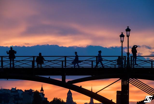 Coucher de soleil au Pont des Arts