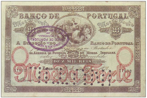 1879 Bank of Portugal Madeira provisional issue