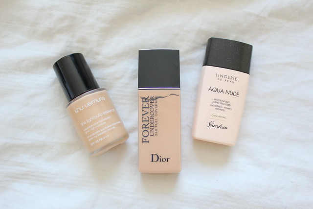 Review of Shu Uemura Lightbulb Essence Foundation, Diorskin Forever Undercover Foundation and Guerlain Lingerie de Peau Aqua Nude Foundation