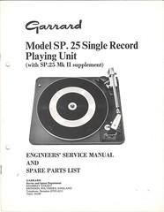Garrard TechEng Service Manual SP25 SP25MkII