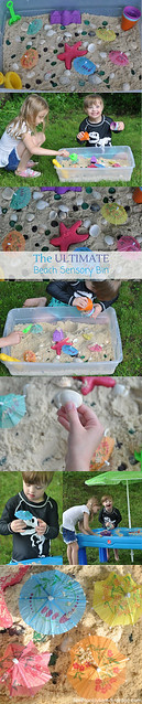 The Ultimate Beach Sensory Bin! Easy and inexpensive to put together, can be used over and over again, and it's even portable! #sensorybin #sensoryplay #therapyideas #Downsyndrome