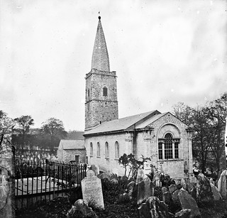 """""""Church with square tower of rubble masonry"""" is the original St Finbarre's Cathedral, Cork"""