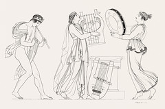 Grecian musical performers from An illustration of the Egyptian, Grecian and Roman costumes by Thomas Baxter (1782-1821).Digitally enhanced by rawpixel.
