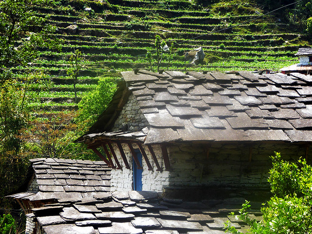 View of a slate farmhouse roof in the Himalayan Mounatins in the rural Nepali region of Myagdi