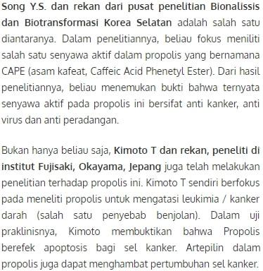 bukti ilmiah obat gondok beracun propolis